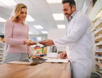 pharmacist with customer